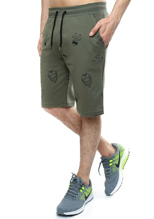 Madmext Patterned Khaki Shorts 2410