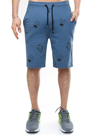 Madmext Patterned Indigo Shorts 2410