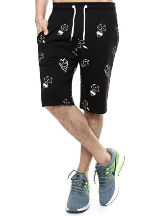 Madmext Patterned Fitness Black Shorts 2410