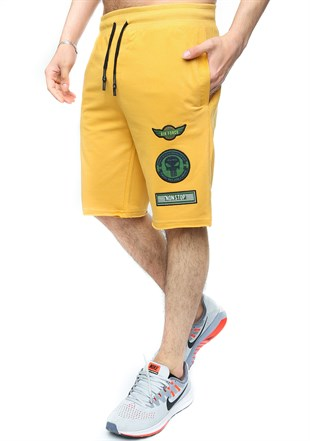 Madmext Men Daily Yellow Shorts