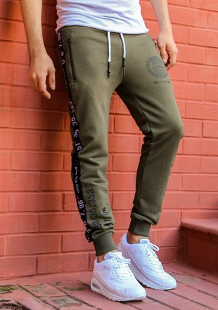 Madmext Striped Khaki Joggers 2085