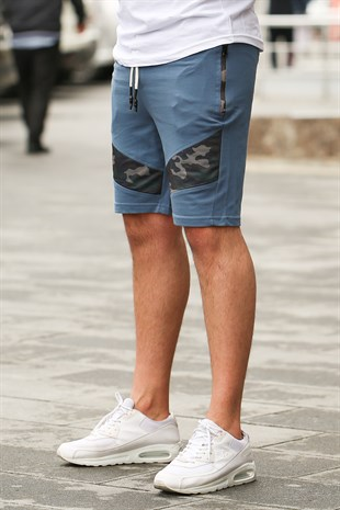 Madmext Camouflage Patterned Indigo Shorts 2414