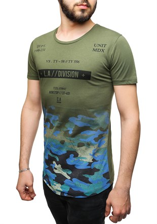 Madmext Camouflage Printed Khaki T-Shirt 2494