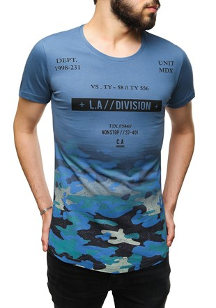 Madmext Camouflage Printed Indigo T-Shirt 2494