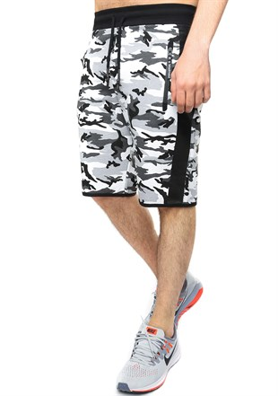 Madmext White Camouflage Shorts 2423