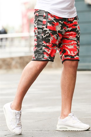 Madmext Burgundy Camouflage Shorts 2423