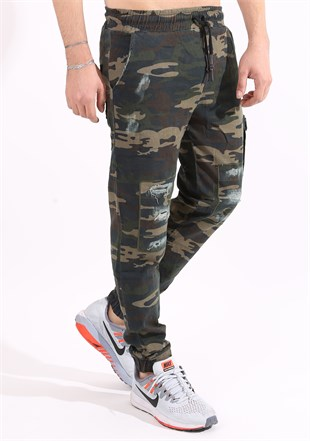 Madmext Camouflage Gabardine Navy Blue Pants 2074