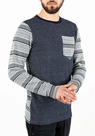 Madmext Patterned Navy Blue Sweater 1629