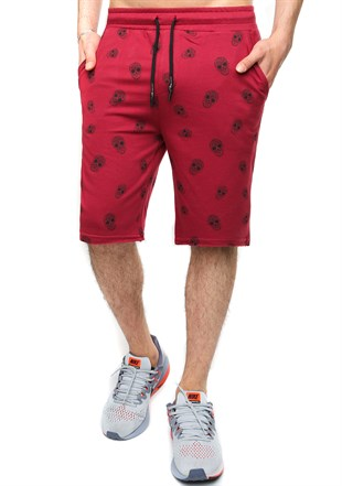 Madmext Patterned Burgundy Shorts 2426