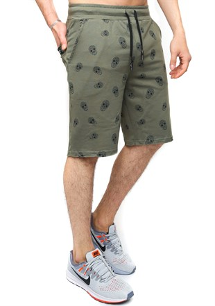 Madmext Patterned Khaki Shorts 2426