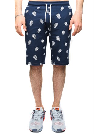 Madmext Patterned Navy Blue Shorts 2426