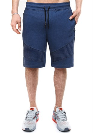 Madmext Patterned Navy Blue Fitness Shorts 2415