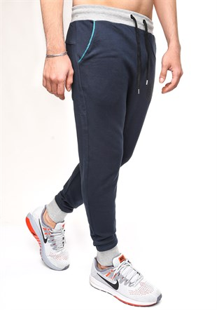 Madmext Casual Navy Blue Joggers 1136