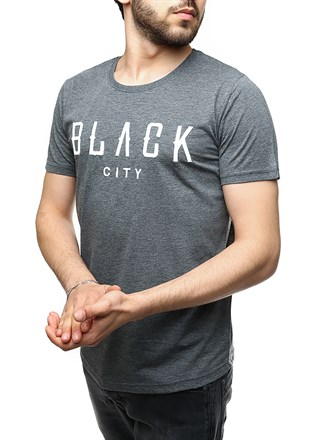 Madmext Printed Black City Smoked T-Shirt 2492