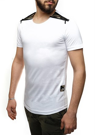 Madmext White T-Shirt With Shoulder Zipper Detail 2445