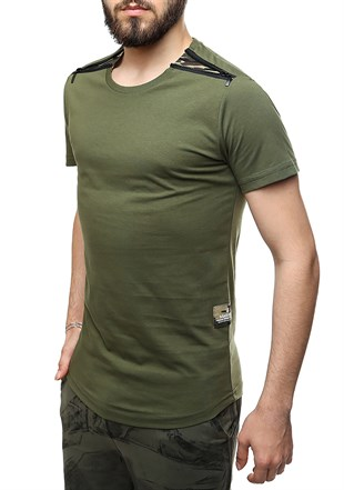 Madmext Khaki T-Shirt With Shoulder Zipper Detail 2445