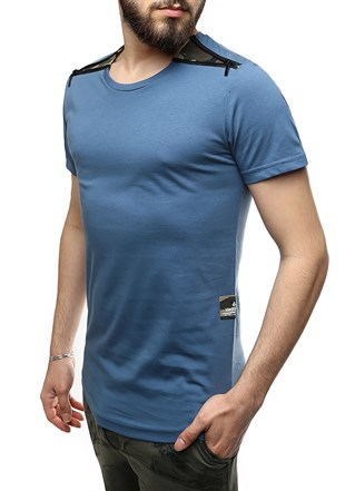 Madmext Indigo T-Shirt With Shoulder Zipper Detail 2445