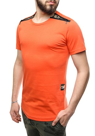Madmext Orange T-Shirt With Shoulder Zipper Detail 2445