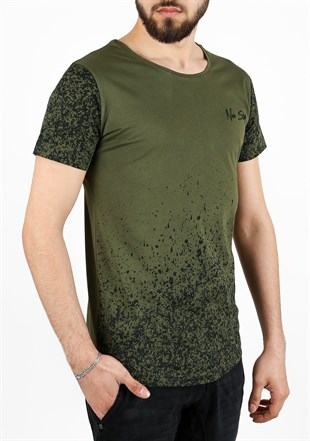 Madmext Printed Khaki T-Shirt 2451