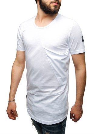 Madmext Longline White T-Shirt 2574