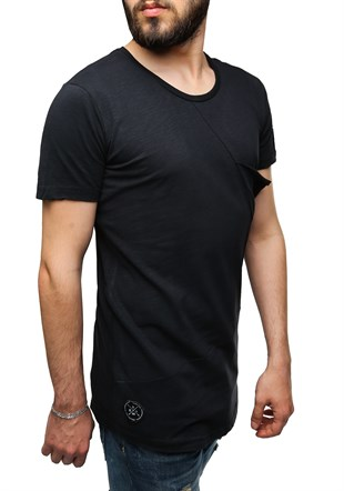 Madmext Longline Black T-Shirt 2574