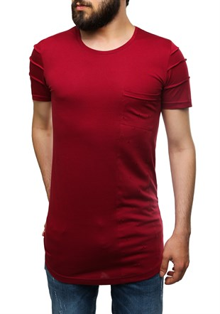 Madmext Printed Burgundy T-Shirt 2575