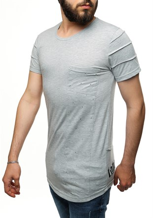 Madmext Printed Grey T-Shirt 2575