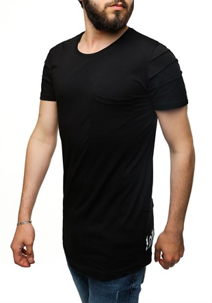 Madmext Printed Black T-Shirt 2575