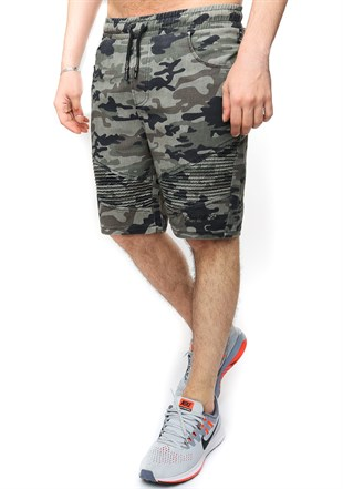 Madmext Black Camouflage Shorts