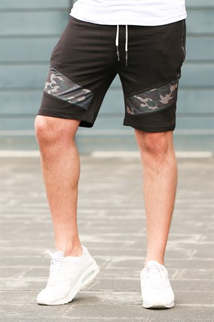 Madmext Camouflage Patterned Black Shorts 2414