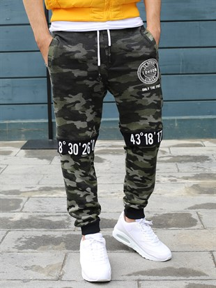 Madmext Camouflage Casual Black Joggers 2084