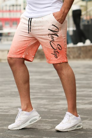 Madmext Patterned Orange Fitness Shorts 2417