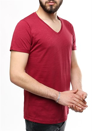 Madmext Burgundy T-shirt 2455