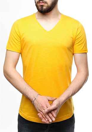Madmext Mustard Color T-shirt 2458