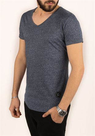 Madmext Navy Blue T-Shirt 2301
