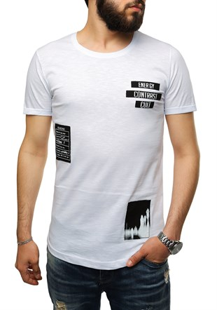 White T-Shirt With Patch Detail 2478