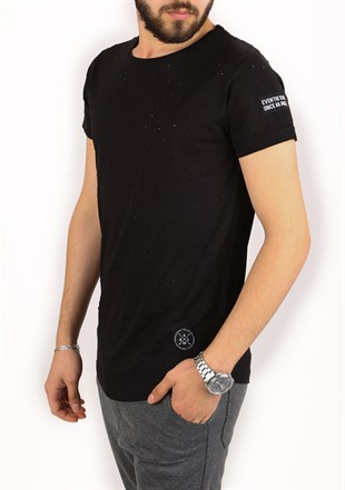 Madmext Super Relaxed Black Men T-Shirt 1840