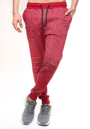 Madmext Slim Fit Burgundy Joggers 1611