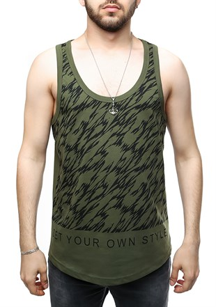 Madmext Printed Khaki Tank Top 2452
