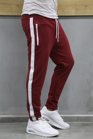 Mens Sweatpant In Striped Design Burgundy Color Altı 2706