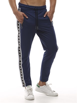 Mens Sweatpant In Striped Design Navy Blue Color2440