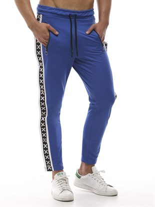 Mens Sweatpant In Striped Design Blue Color2440