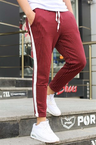 Madmext Striped Burgundy Joggers 2439