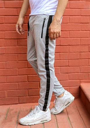 Mens Sweatpant In Striped Design Smoked  Color 2716