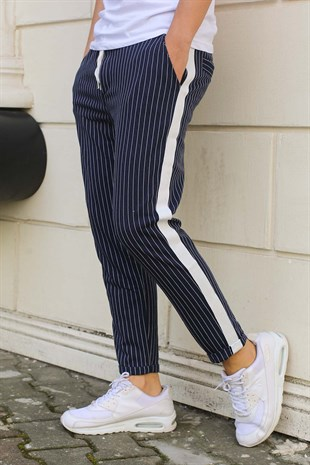 Madmext Striped Navy Blue Joggers 2439