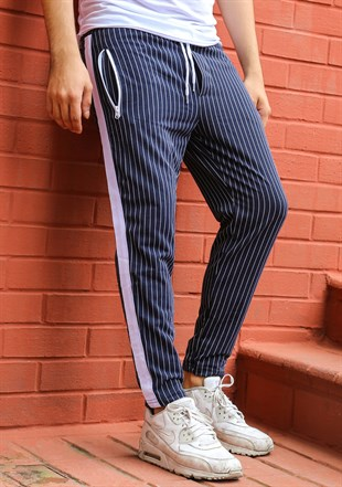 Mens Sweatpant In Striped Design Dark Blue Color 2716
