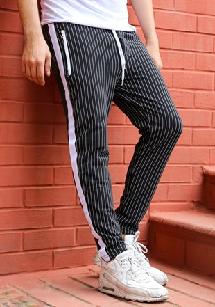 Mens Sweatpant In Striped Design Black Color 2716