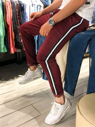 Madmext Striped Burgundy Jogger 2438