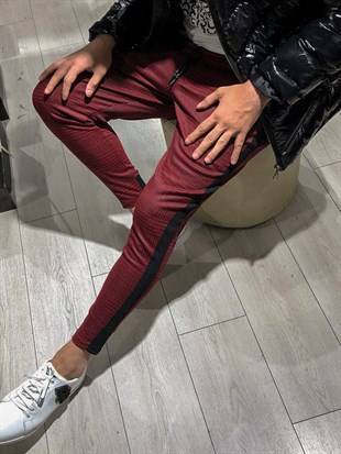 Mens Sweatpant In Plain Design Dark Burgundy Color2705