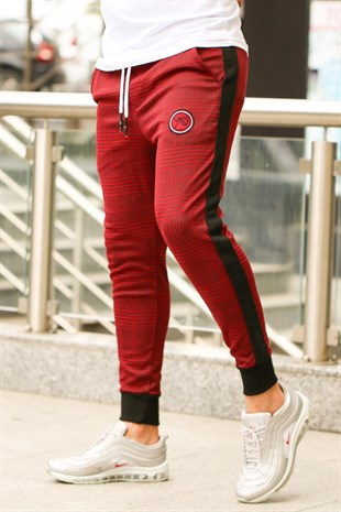 Mens Sweatpant In Plain Design Dark Burgundy Color2710
